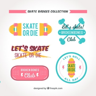 Flat and colored skate badge collection