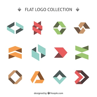Flat angular logo collection