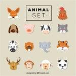 Flat animal heads set