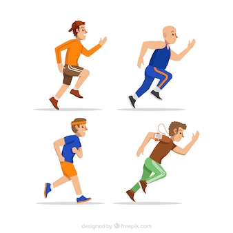 Flat assortment of men running