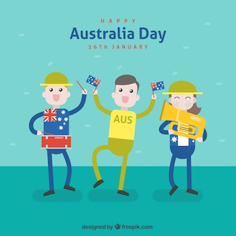 Flat australia day background with happy characters