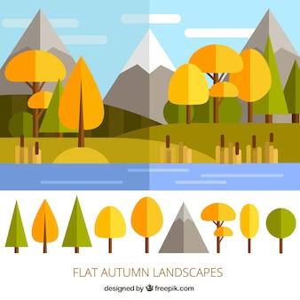 Flat autumn landscape