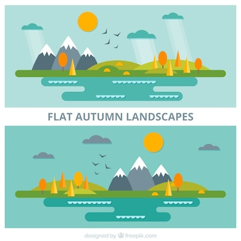 Flat autumnal landscapes with snowy mountains