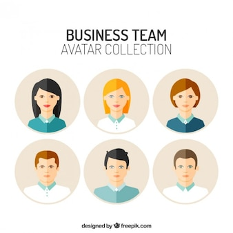 Flat avatars of business team