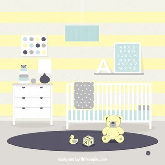 Flat baby room with yellow details
