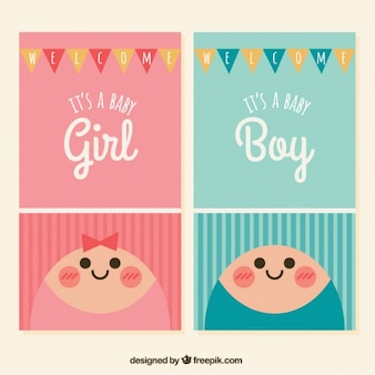 Flat baby shower cards with garlands