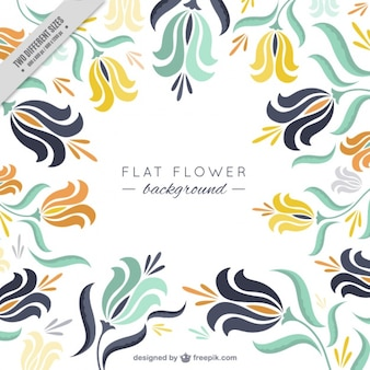 Flat background of abstract flowers