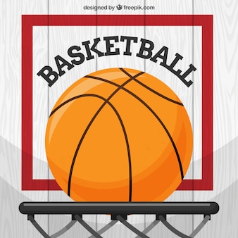Flat background of basketball in basket