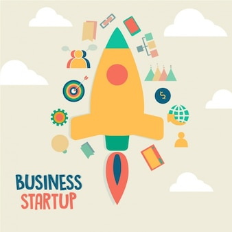 Flat background of business startup