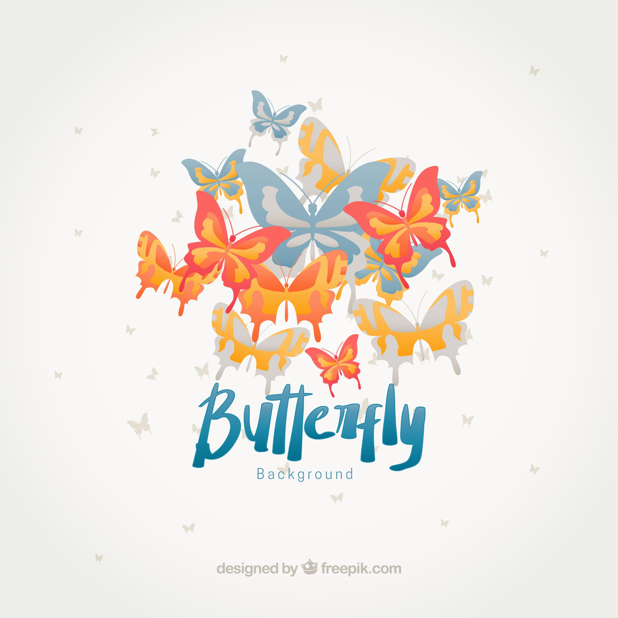 Flat background of butterflies