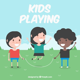 Flat background of children playing with jump rope
