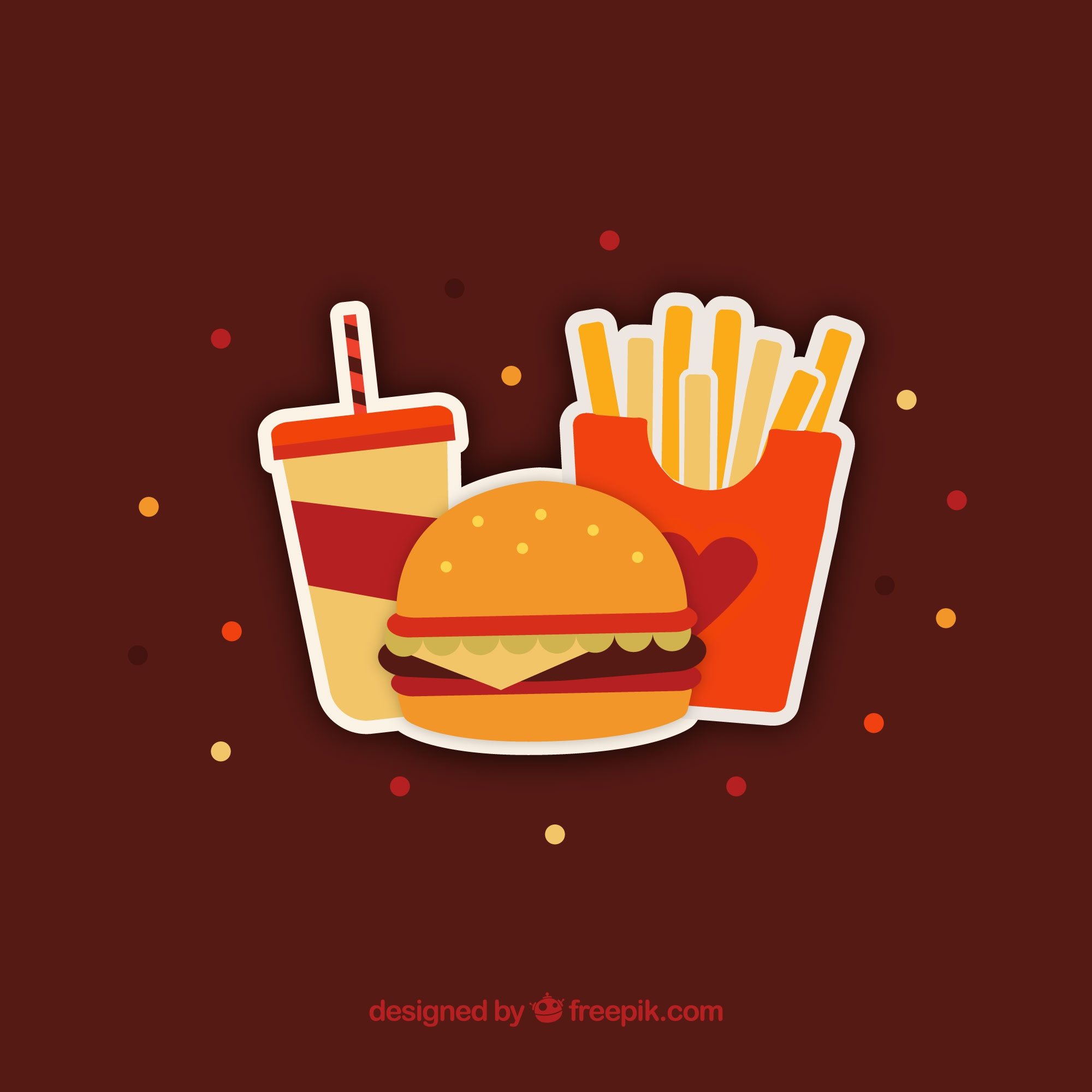 Flat background of colored fast food menu