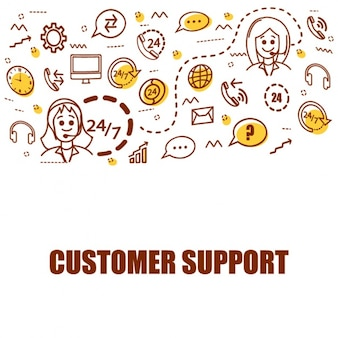 Flat background of customer support