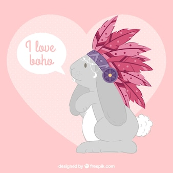 Flat background of cute rabbit with feathers