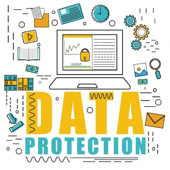 Flat background of data protection strategy