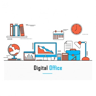 Flat background of digital office
