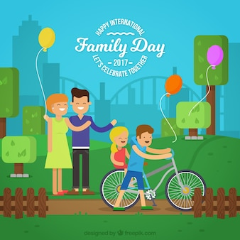 Flat background of happy family enjoying in the park