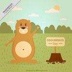 Flat background of happy groundhog
