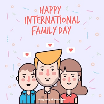 Flat background of lovely family with decorative shapes