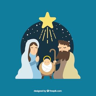Flat background of nativity scene