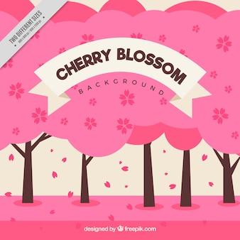 ピンクの木の平らな背景