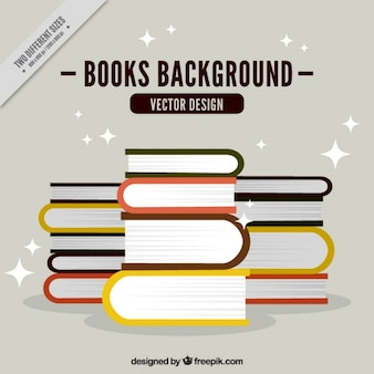 Flat background of stacked books