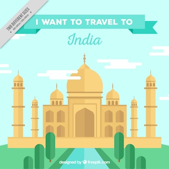 Flat background of taj mahal
