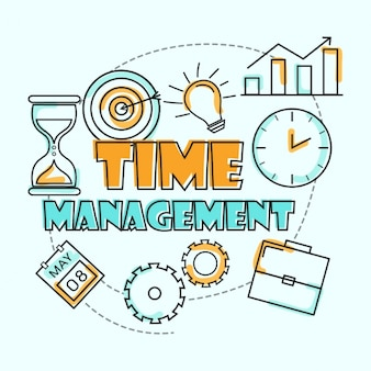 Flat background of time management