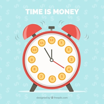 Flat background with alarm clock and dollar symbols