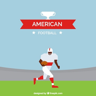 Flat background with american football player in geometric style