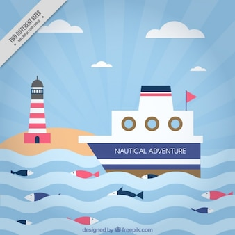 Flat background with boat and lighthouse