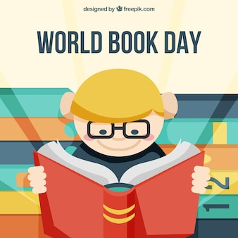 Flat background with boy reading for world book day