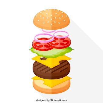 ハンバーガー成分を含む平らな背景