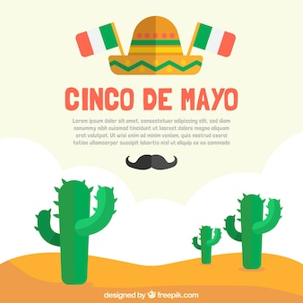 Flat background with cactus for cinco de mayo