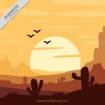 Flat background with cactus in orange tones