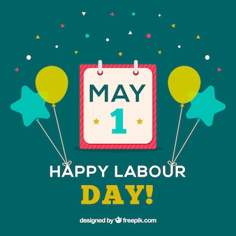 Flat background with calendar and balloons for labour day