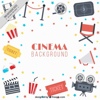 Flat background with cinema items and colorful stars