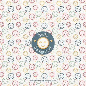 Flat background with colored smileys