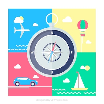 Flat background with compass and transports