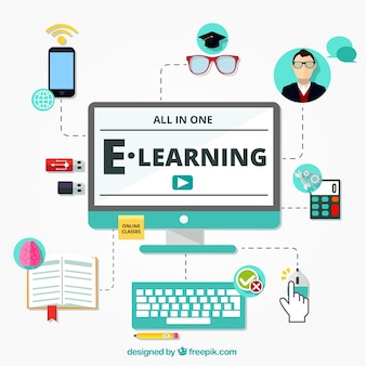 Flat background with different learning elements