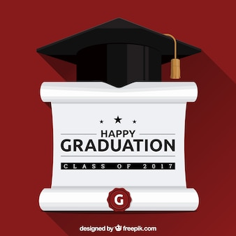 Flat background with diploma and graduation cap