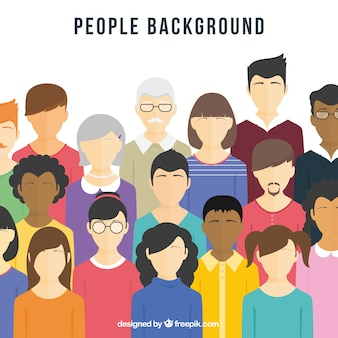 Flat background with diversity of people