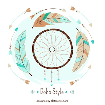 Flat background with dreamcatcher and arrows