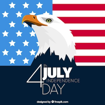 Flat background with eagle for usa independence day