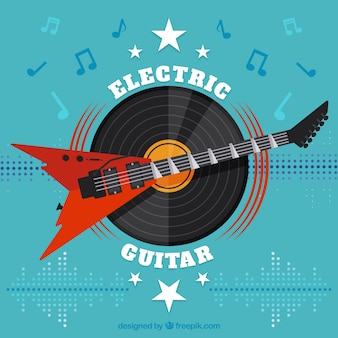 Flat background with electric guitar and vinyl