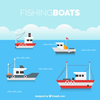 Flat background with four fishing boats