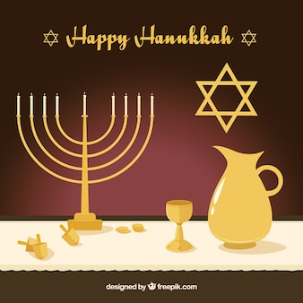 Flat background with golden hanukkah objects