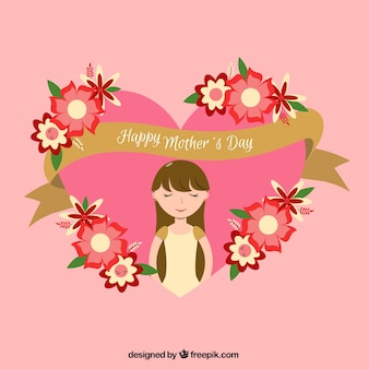 Flat background with golden ribbon and flowers ready for mother's day