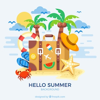 Flat background with great summer elements