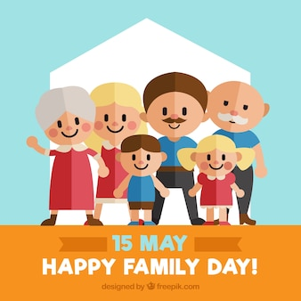 Flat background with happy family members